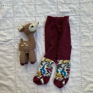 Hanna Anderson baby tights, plum. Size 0-3mos